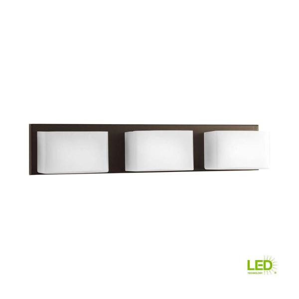 Ace Collection 3-Light Antique Bronze Integrated LED Bathroom Vanity Light with Glass Shades