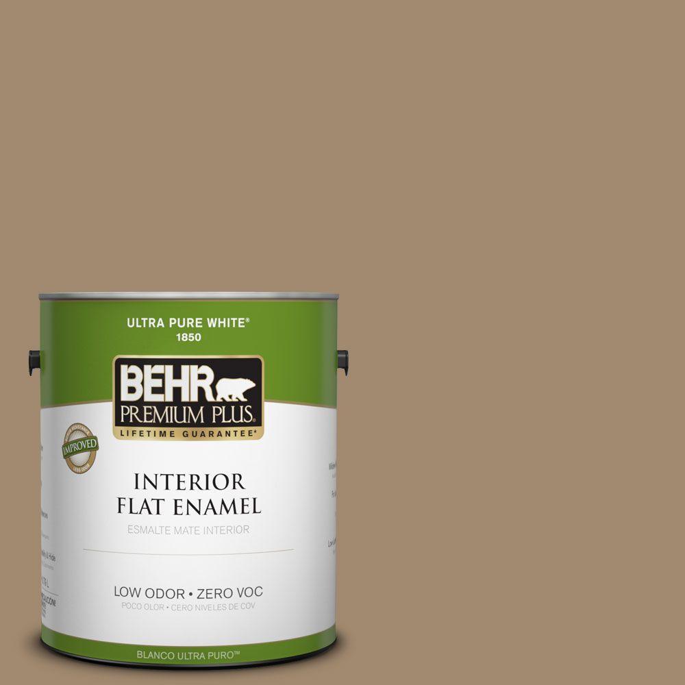BEHR Premium Plus 1-gal. #PMD-102 River Mud Zero VOC Flat Enamel Interior Paint-DISCONTINUED
