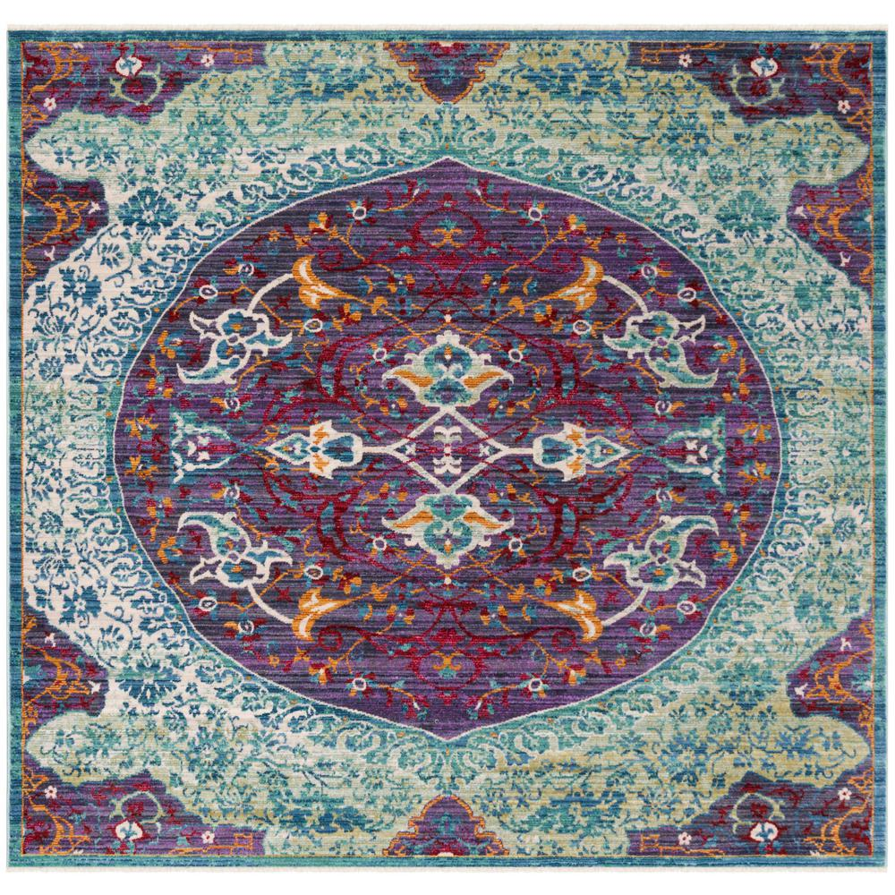 Purple Turquoise Rag Rug: Safavieh Sutton Purple/Turquoise 6 Ft. X 6 Ft. Square Area