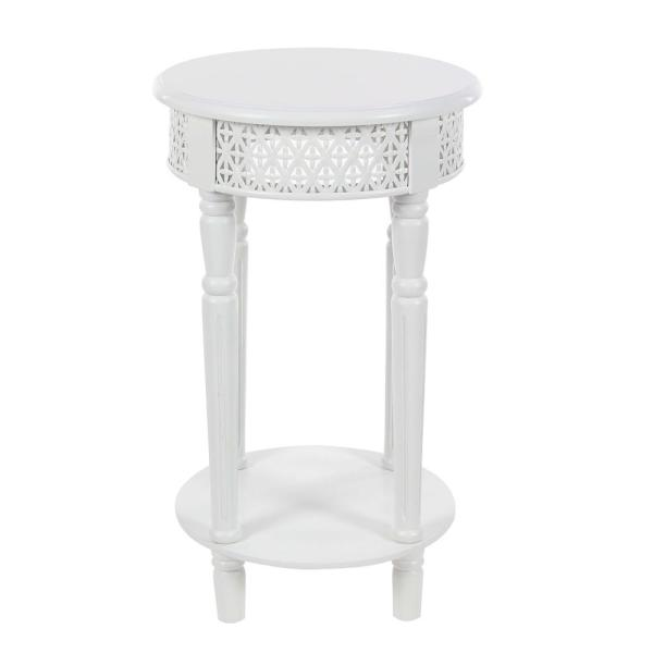 Incroyable Litton Lane Vintage Round White Side Table With Decorative Panels