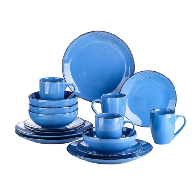 Series Navia Oceano Dinner Set 16-Pieces Dark Blue Vintage Prcelain with Plates Cereal Bowls Mugs (Service for 4)
