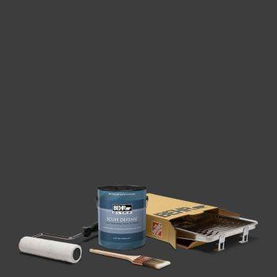 1 gal. Black Extra Durable Satin Enamel Interior Paint and 5-Piece Wooster Set All-in-One Project Kit
