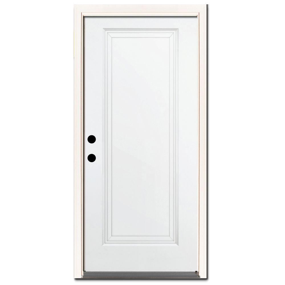 32 in. x 80 in. Premium 1-Panel Primed White Steel Prehung