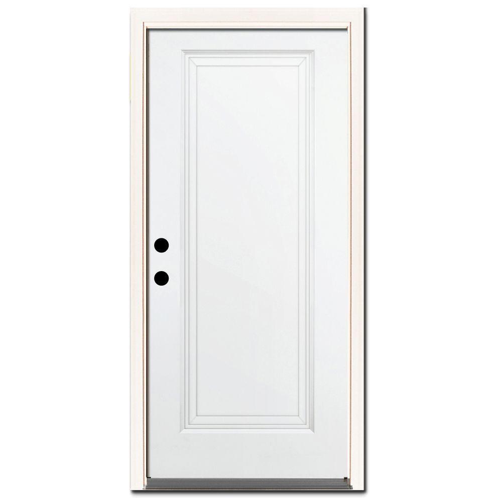 32 in. x 80 in. Premium 1-Panel Primed White Steel Prehung