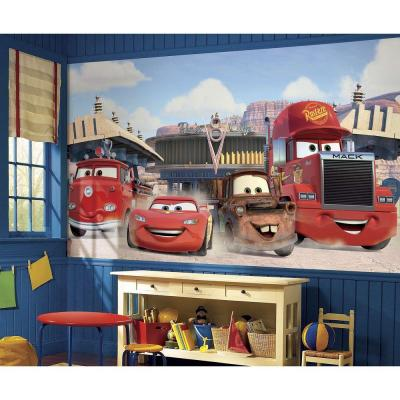 72 in. x 126 in. Disney Cars Friends to the Finish XL Chair Rail Pre-Pasted Wall Mural