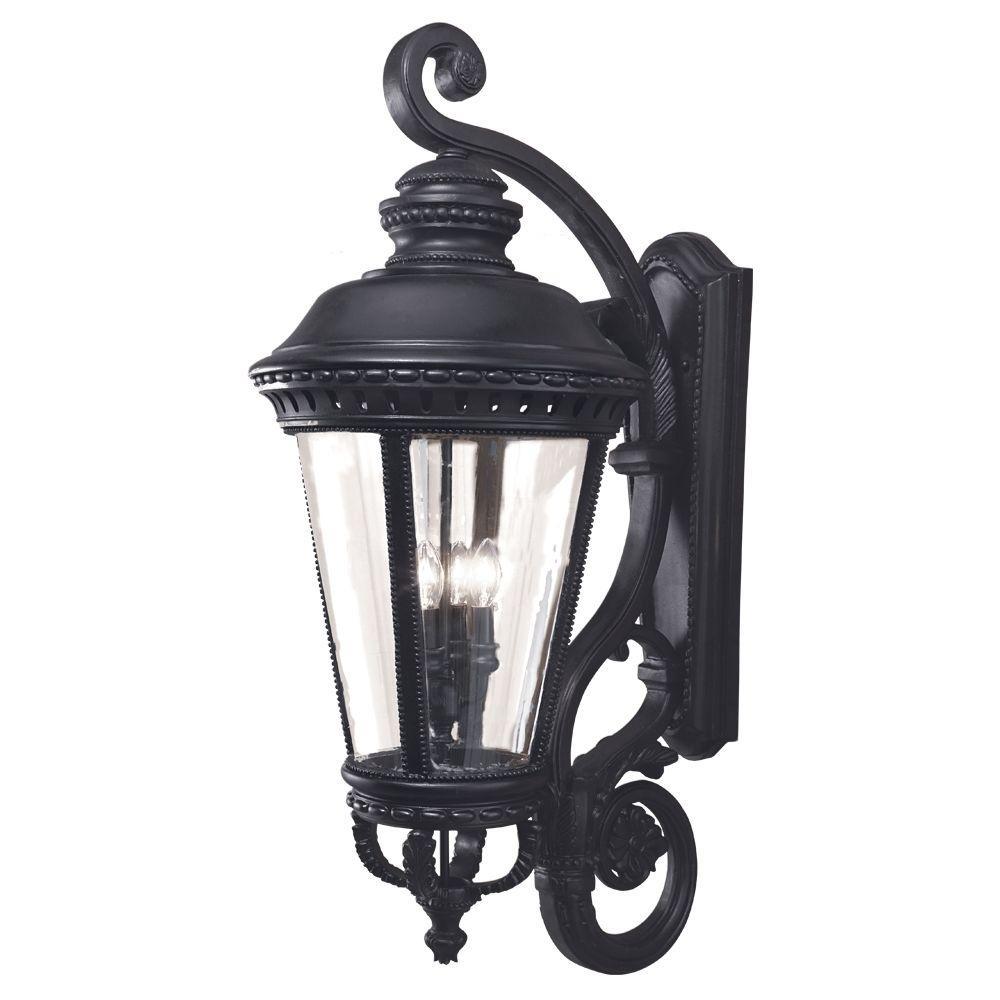 Castle 4-Light Black Outdoor Wall Lantern Sconce