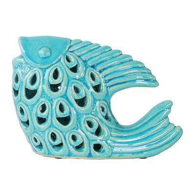 6.5 in. H Fish Decorative Figurine in Turquoise Gloss Finish