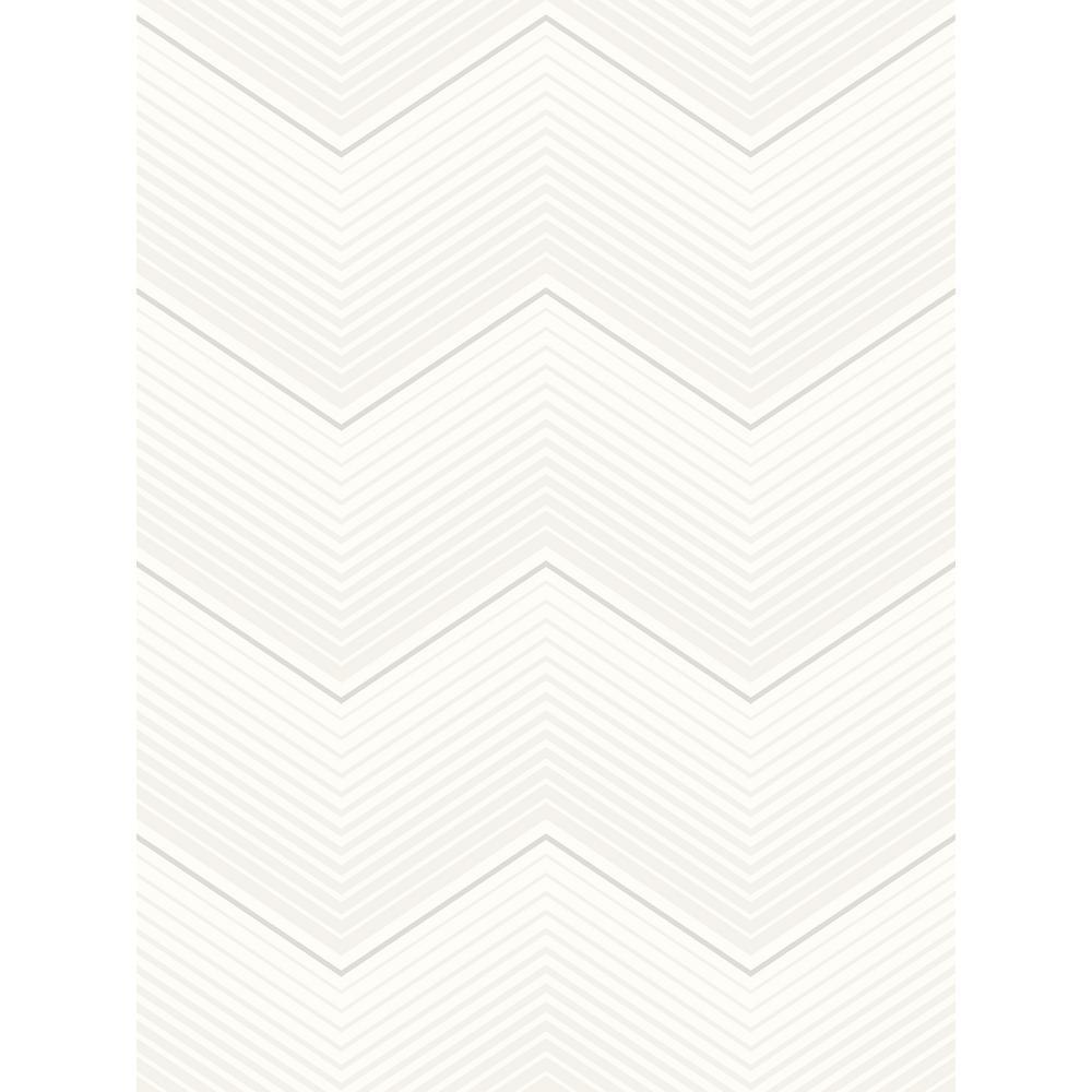 Chevron Metallic Pearl Stripe Wallpaper