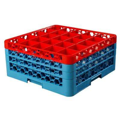 19.75x19.75 in. 25-Compartment 3 Extenders Top Red Glass Rack (for Glass 3.25 in. Dia., 7.94 in. H) in Blue (Case of 2)
