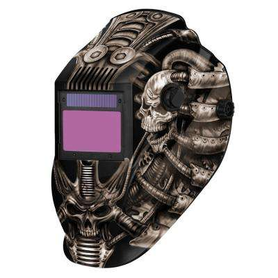 8735SGC Gray Techno Skull 9 -13 Shade Auto Darkening Welding Helmet with 3.78 in. x 2.05 in. viewing area