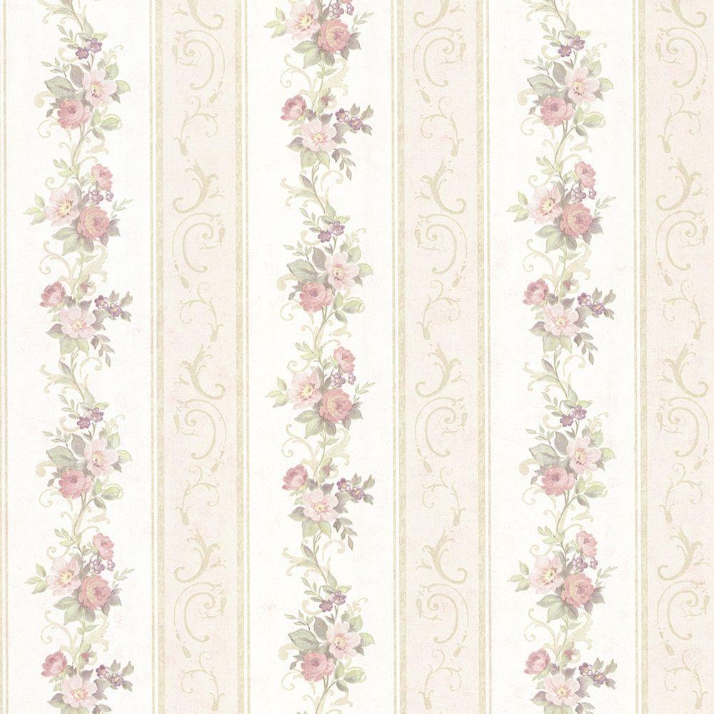 Lorelai Light Green Floral Stripe Wallpaper