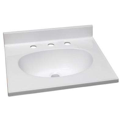 61 in. W Cultured Marble Vanity Top in Solid White and 8 in. Faucet Spread with Solid White Basin