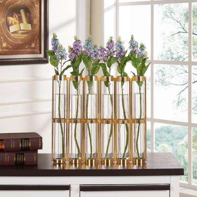 16 in. H x 2.5 in. D Iron and Glass Decorative Tube Hinged Vases on Rings Stands - Gold