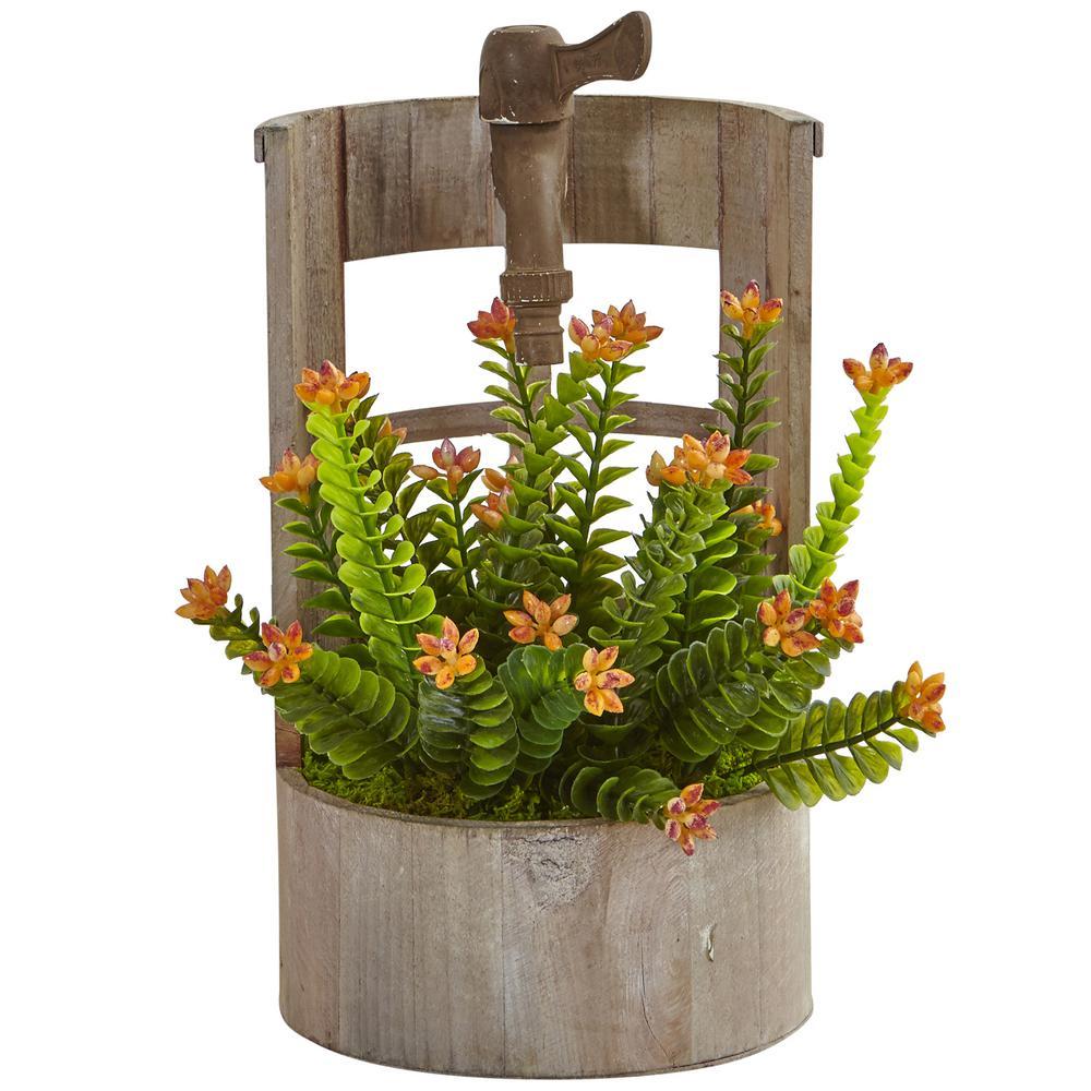 Indoor Sedum Artificial Plant in Wooden Garden Planter
