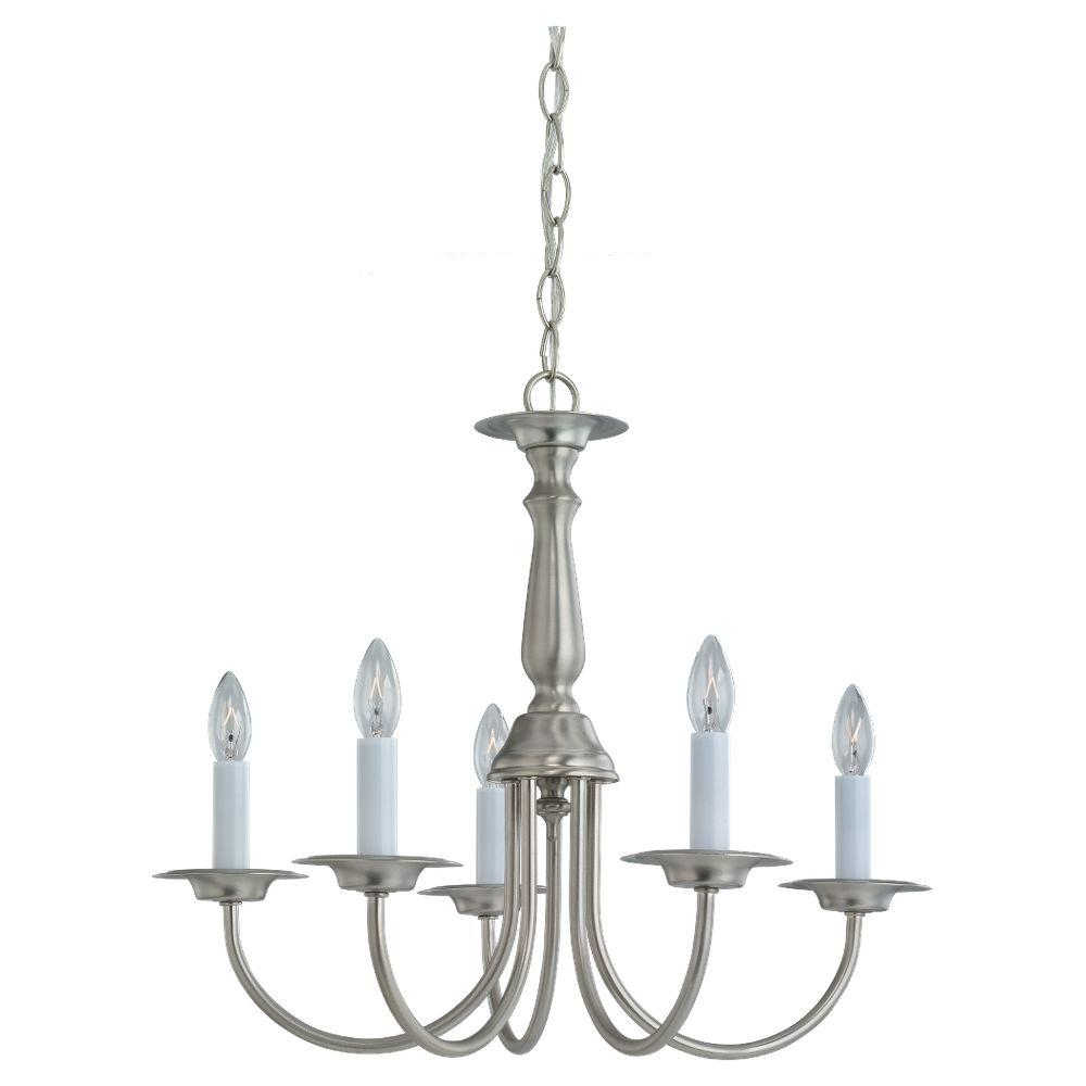 Sea Gull Lighting Traditional 5-Light Brushed Nickel Single Tier Chandelier
