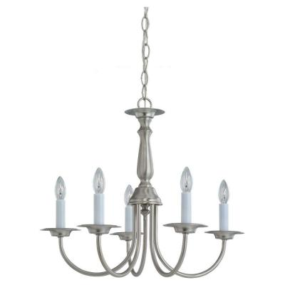 Traditional 5-Light Brushed Nickel Single Tier Chandelier