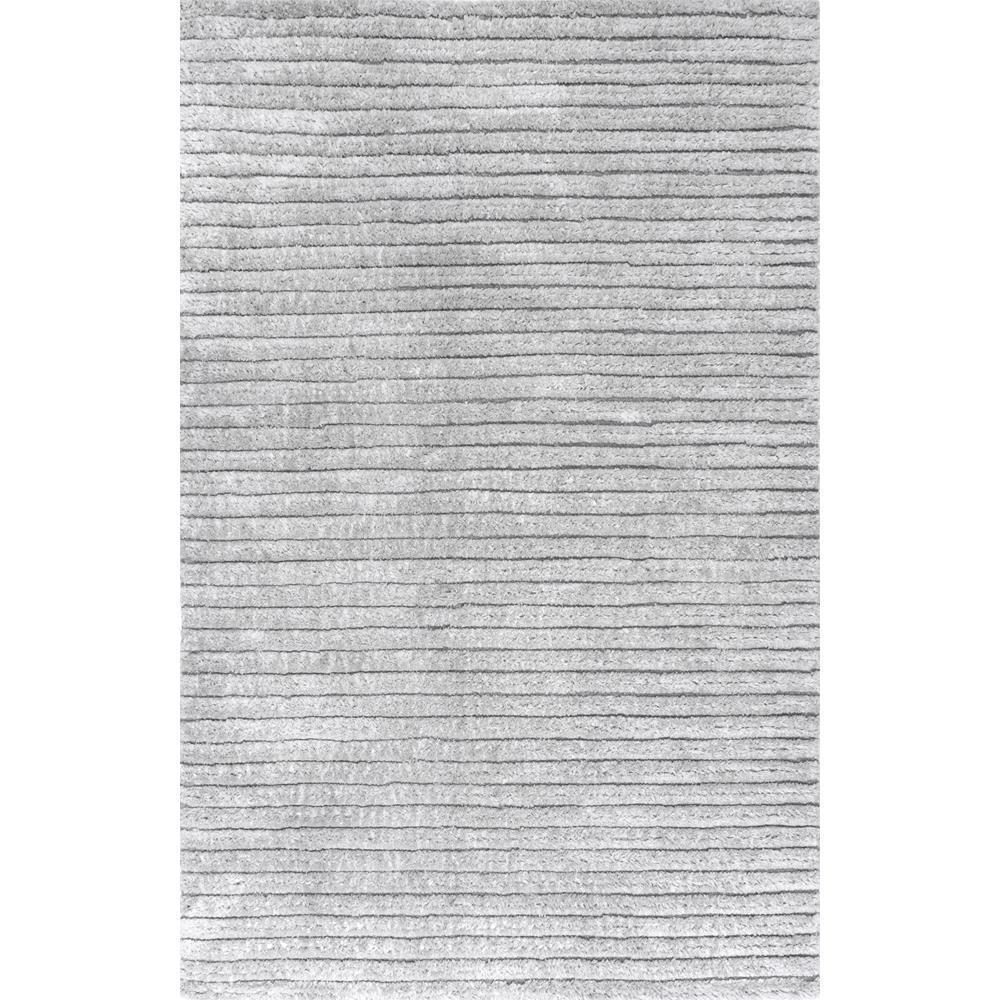 Kora Soft Striped Shag Gray 5 ft. x 8 ft. Area Rug