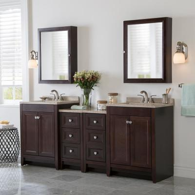 Delridge Bath Suite with 2 - 24 in. W Bath Vanities with Vanity tops, and 2 Linen Towers in Chocolate