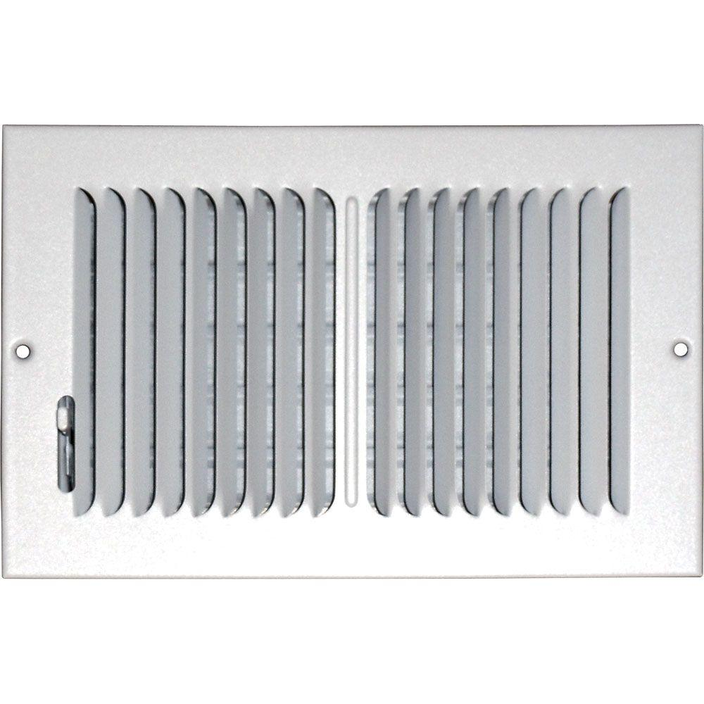 6 in. x 10 in. Ceiling/Sidewall Vent Register, White with 2-Way