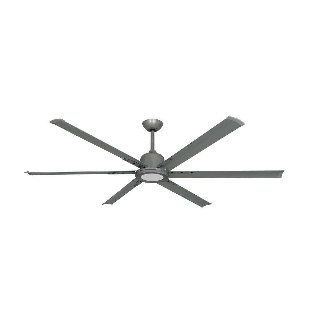 TroposAir Titan II 72 in. LED Indoor/Outdoor Brushed Nickel Ceiling Fan with Remote Control