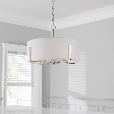 Manhattan 4-Light Polished Nickel Chandelier with White Drum Shade