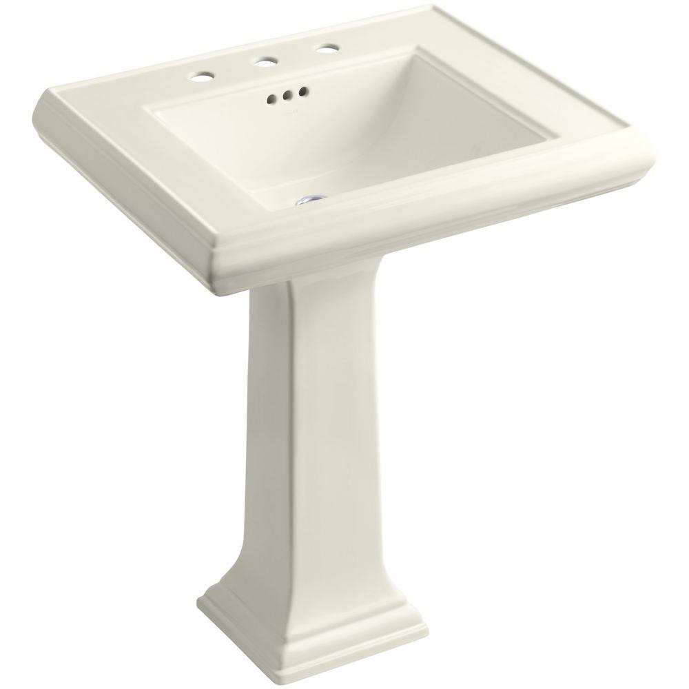 Memoirs Ceramic Pedestal Bathroom Sink in Biscuit with Overflow Drain