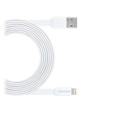 10 ft. Flat Tangle-Free [Apple MFI Certified] Lightning USB to 8-Pin Cable in White