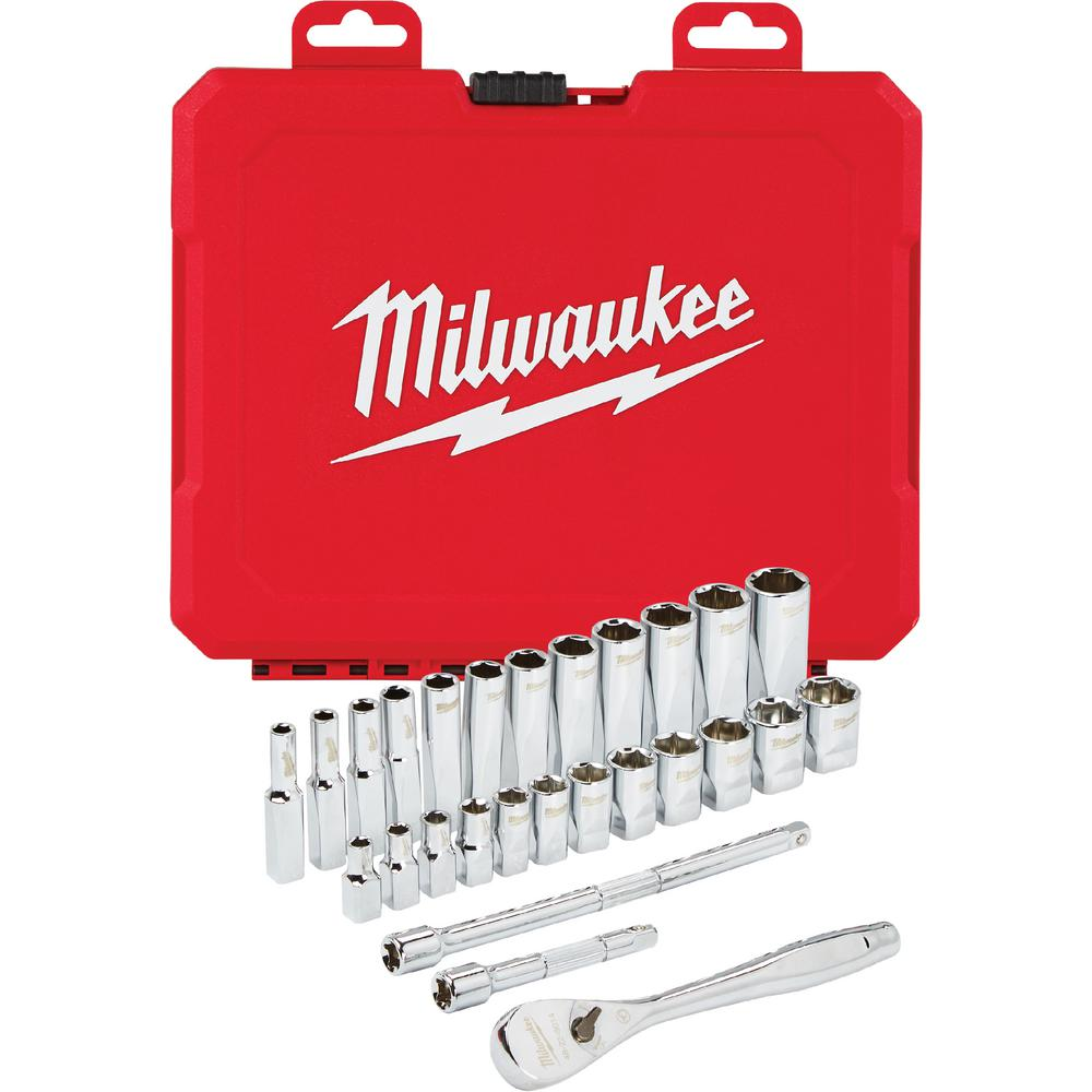 Milwaukee 1/4 in. Drive Metric Ratchet and Socket Mechanics Tool Set (28-Piece)