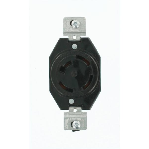 20 Amp 120/208-Volt 3-Phase Flush Mounting Non-Grounding Locking Outlet, Black