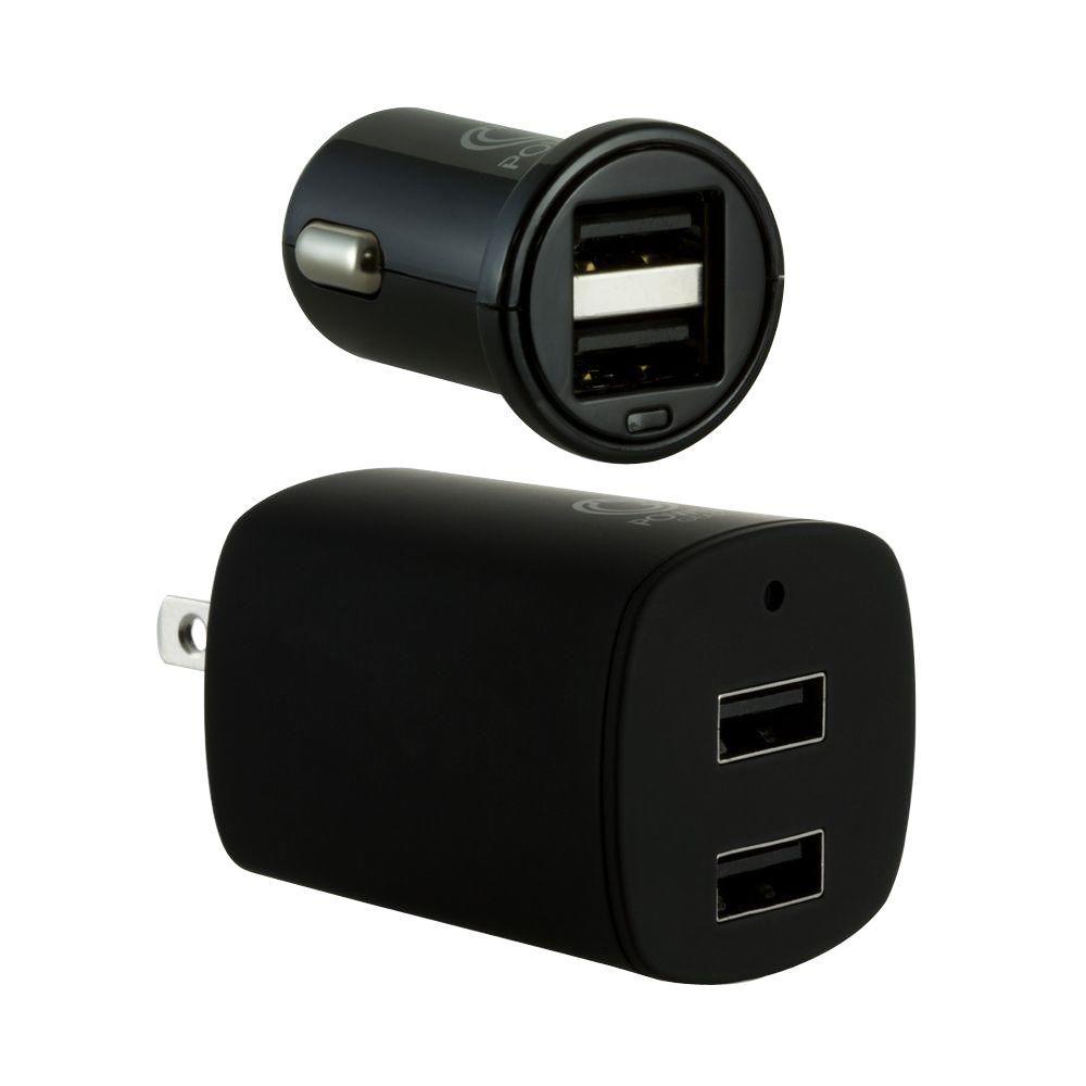 2.1-Amp Dual Port USB Charging Kit - Black