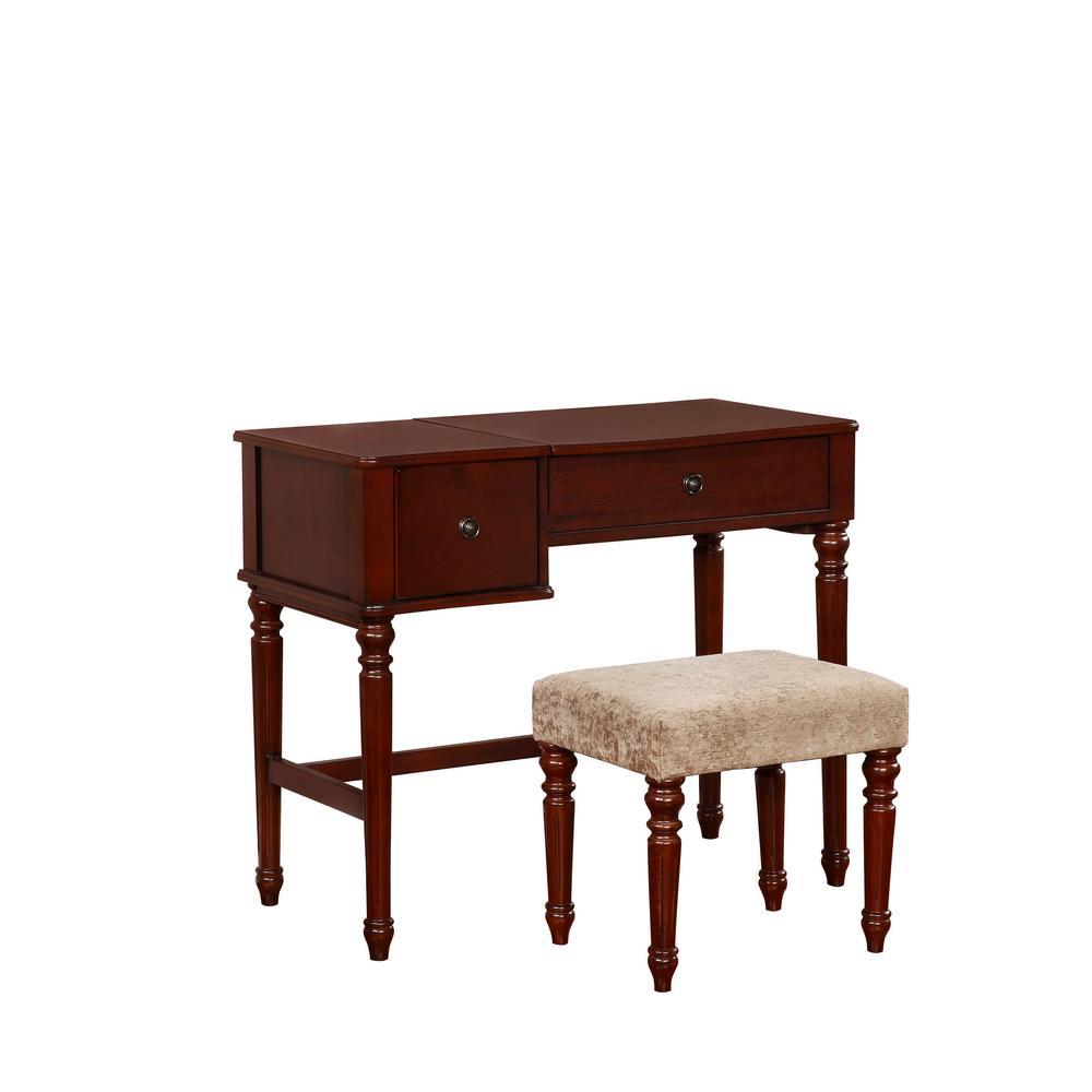 Linon Home Decor Wyndham 2-Piece Walnut Vanity Set