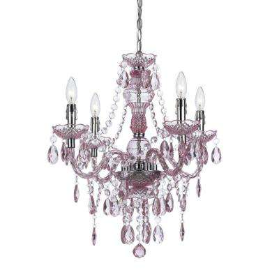 Mini pink chandeliers lighting the home depot naples 4 light chrome mini chandelier with pink plastic bead accents mozeypictures Gallery