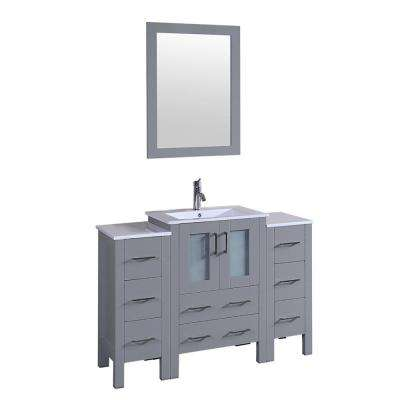 48 in. W Single Bath Vanity in Gray with Ceramic Vanity Top in Gray with White Basin and Mirror