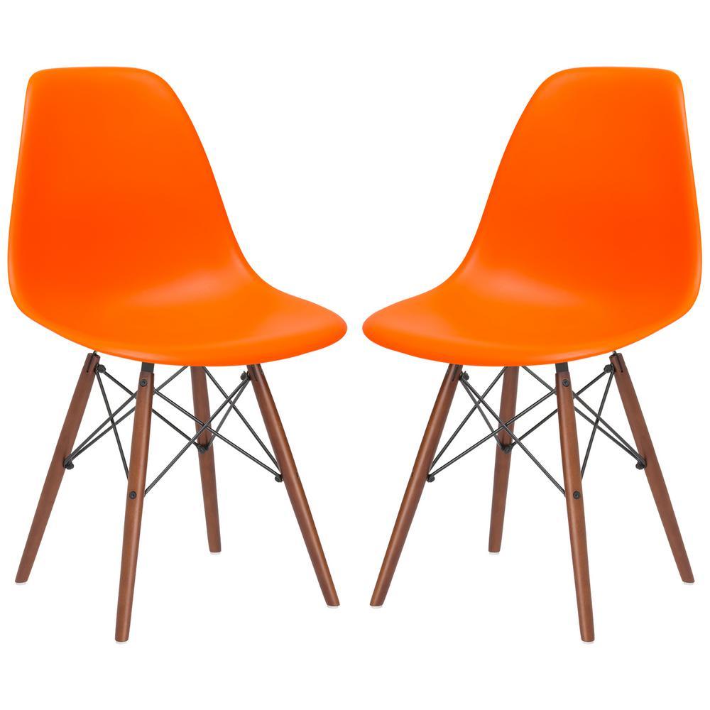 Vortex Orange Side Chair Walnut Legs (Set of 2)