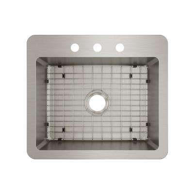 Avenue Stainless Steel Drop-In/Undermount 25 in. Single Bowl Kitchen Sink with Bottom Grid