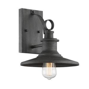 Aurora 1-Light 10 in. Weathered Pewter Outdoor Wall Lantern Sconce