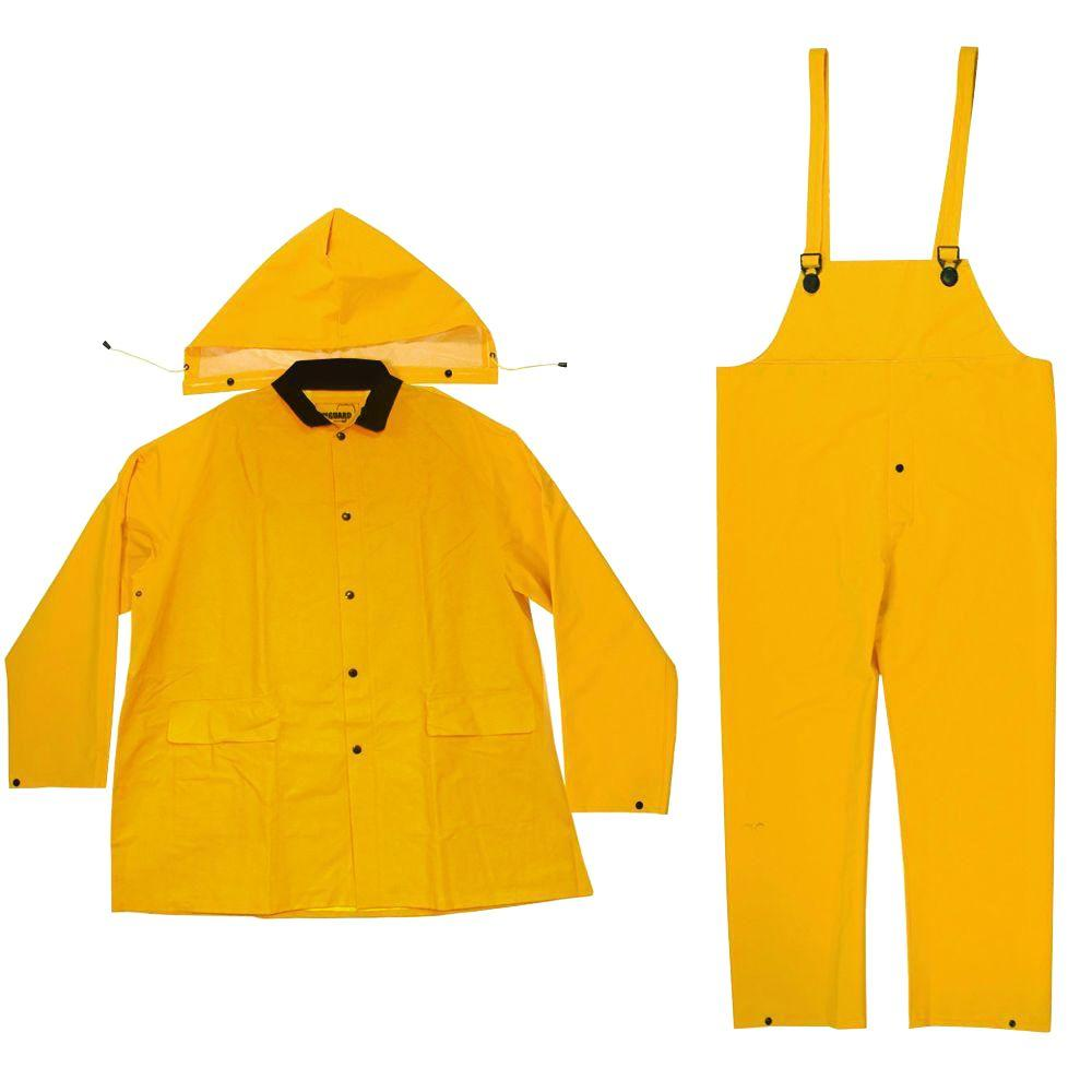 Heavy Duty Size Large Rain Suit (3-Piece), Yellow