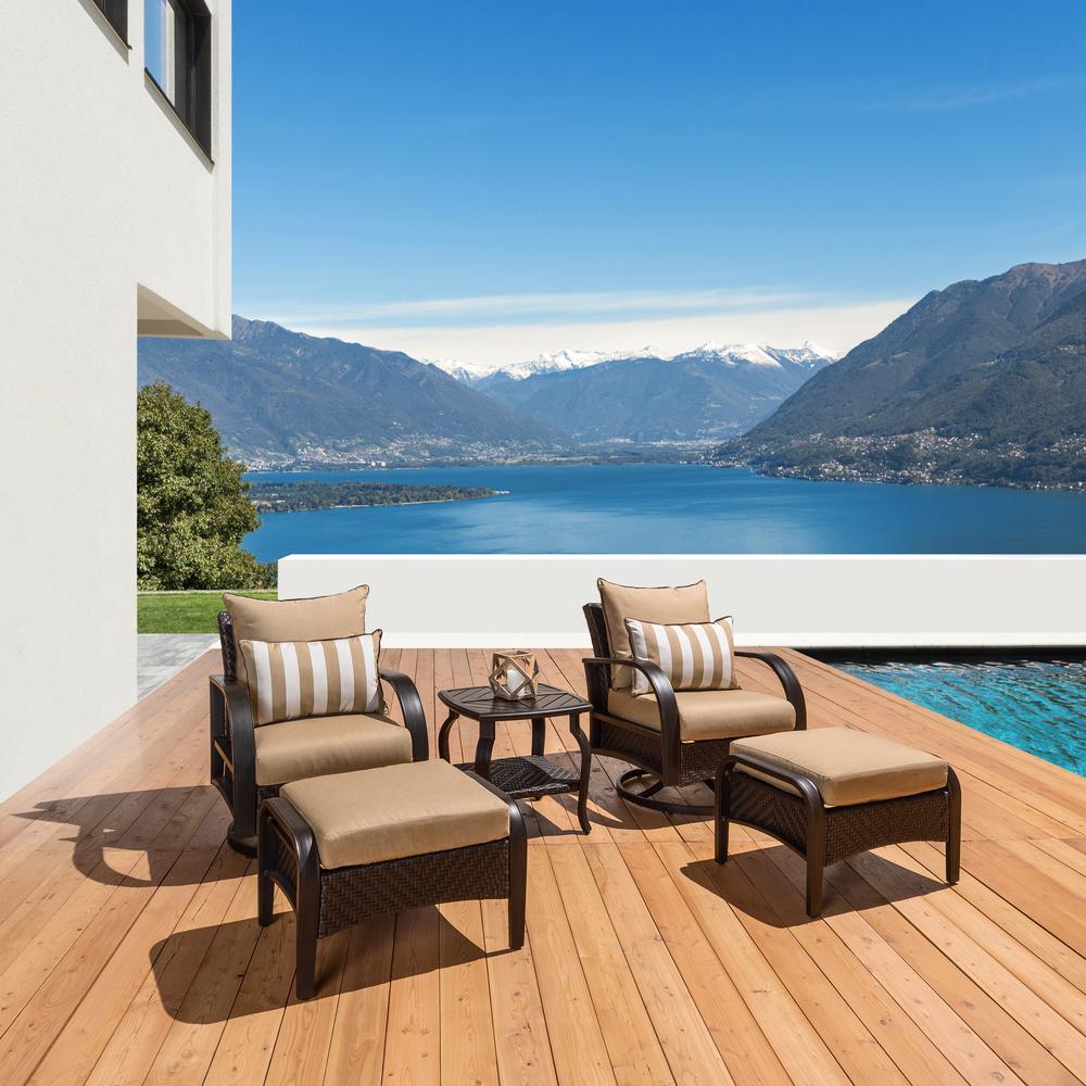 RST Brands Barcelo 5-Piece Motion Wicker Patio Deep Seating Conversation Set with Sunbrella Naxim Beige Cushions