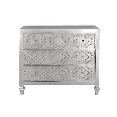 Woven Trellis Silver Leaf 3-Drawer Accent Chest