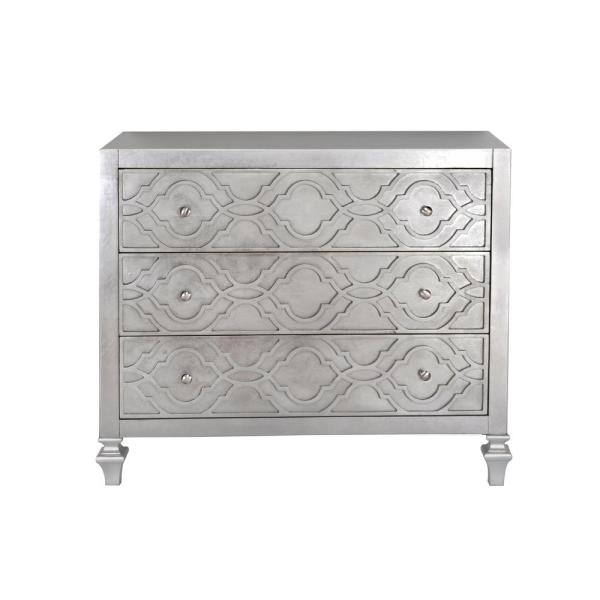 HomeFare Woven Trellis Silver Leaf 3-Drawer Accent Chest DS-D229-039
