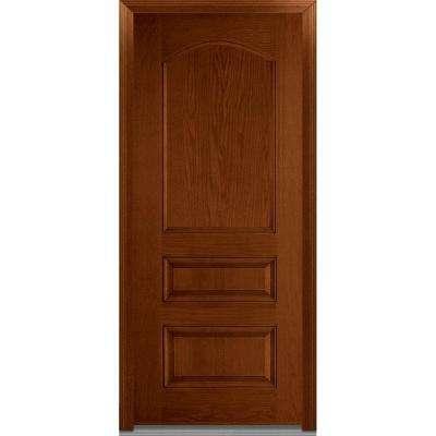 36 in. x 80 in. Severe Weather Right-Hand Outswing 3-Panel Archtop Stained Fiberglass Oak Prehung Front Door
