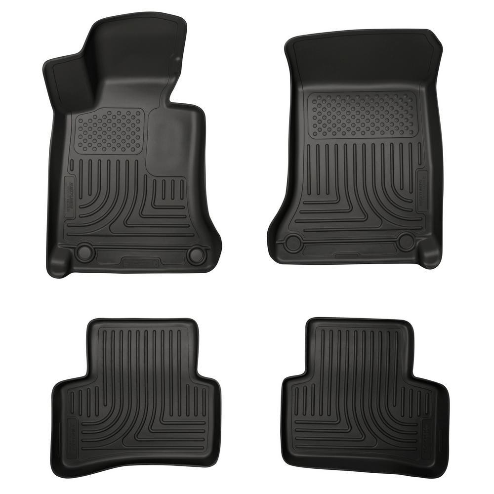 Front & 2nd Seat Floor Liners Fits 08-14 Mercedes C-Class 4 Door