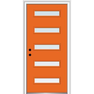 36 in. x 80 in. Davina Low-E Glass Right-Hand Inswing 5-Lite Clear Painted Steel Prehung Front Door on 6-9/16 in. Frame