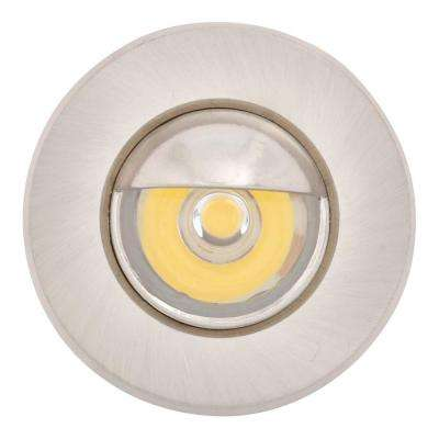 Mini Warm White Integrated LED Recessed Puck Light with 1.5 in. Brushed Steel Trim Ring