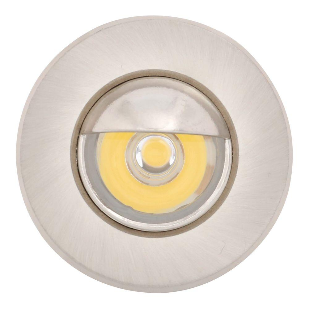 newest 0be41 f5da7 Armacost Lighting Mini Warm White Integrated LED Recessed Puck Light with  1.5 in. Brushed Steel Trim Ring