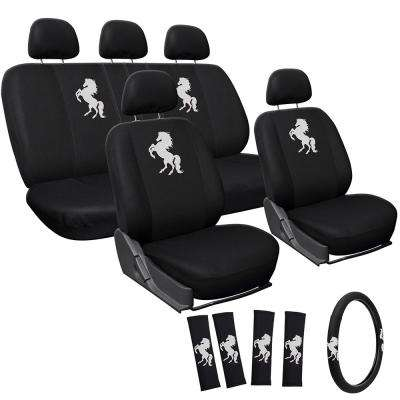 Polyester Seat Cover Set 24 in. L x 21 in. W x 40 in. H 17-Piece Embroidered Horse White Seat Cover Set