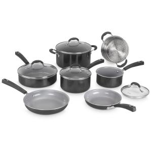 Advantage Ceramic XT 11-Piece Black Aluminum Non-Stick Cookware Set with Lids