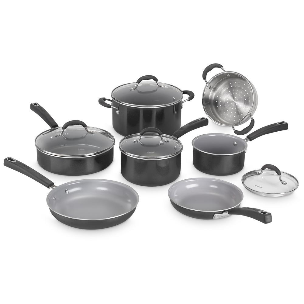 Advantage Ceramic XT Aluminum Non-Stick 11-Piece Black Cookware Set with Lids