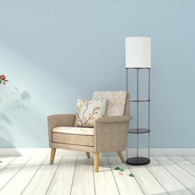 63.25 in. Modern Brushed Nickel Oval Etagere Floor Lamp with White Fabric Shade