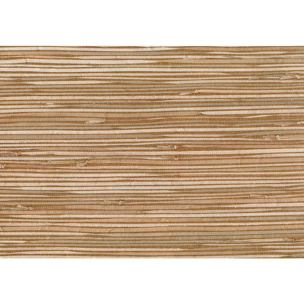 Kenneth James 72 sq. ft. Masuyo Light Brown Grasscloth Wallpaper 53-65620
